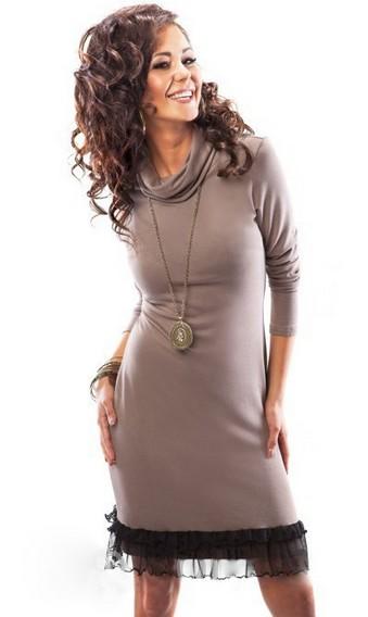 Трикотажная блуза с воротником-хомутом