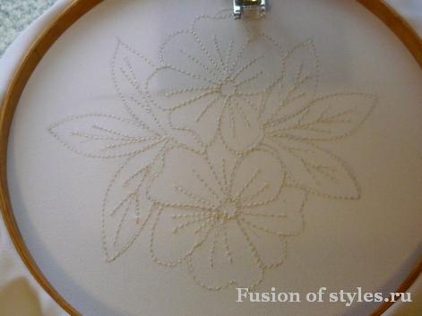 Машинная вышивка в технике Ришелье