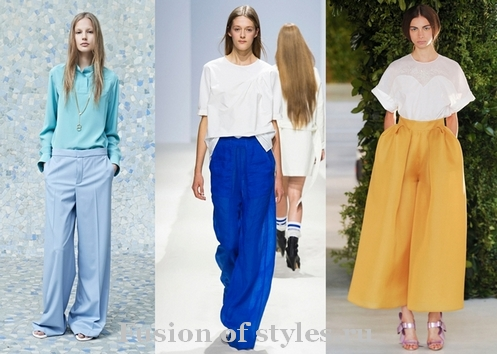 Как и с чем носить широкие брюки