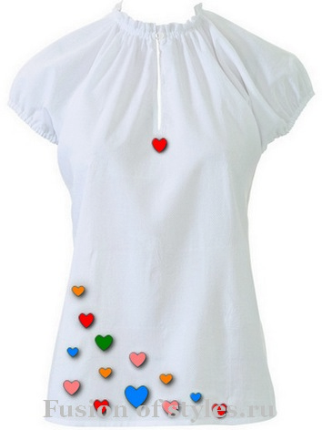 Летняя блуза с цельнокроеным коротким рукавом