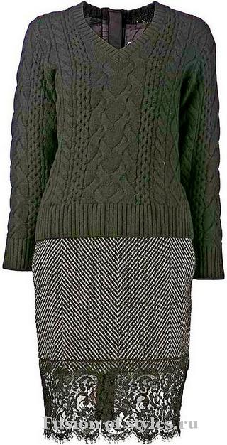 Новый тренд – платье из свитера и юбки