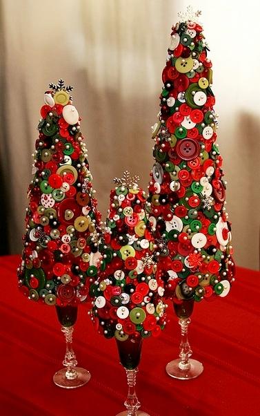 Новогодние украшения с использованием пуговиц