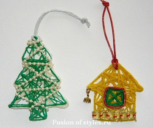 Новогодние украшения из ниток