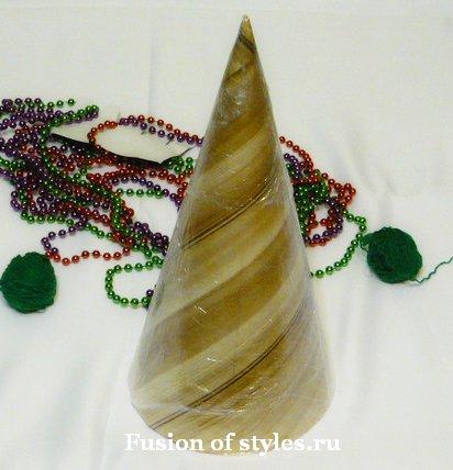 Новогодняя ёлка из ниток своими руками