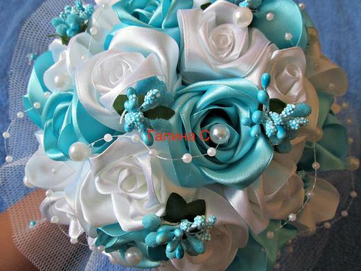 Свадебный букет из атласных лент