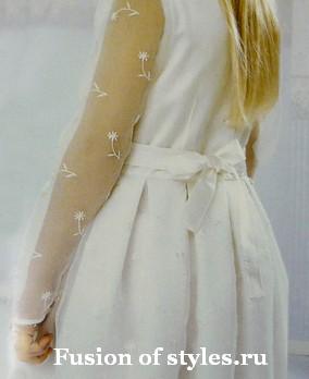 Нарядное платье для девочки из атласа и органзы