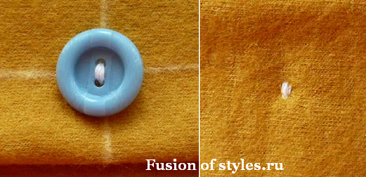 Как правильно пришить пуговицу с двумя дырками