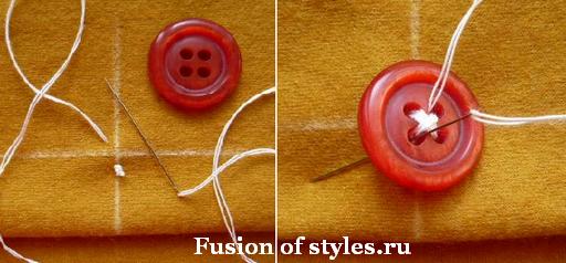 Как правильно пришить пуговицу с четырьмя дырками