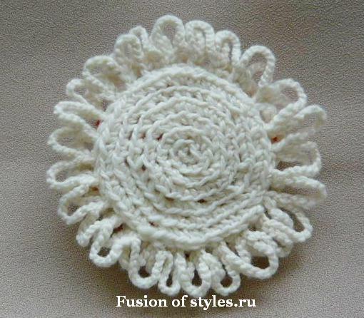 Декоративный цветок своими руками,цветок связанный крючком,цветы из ткани