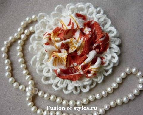 Декоративный цветок своими руками, цветы из ткани, цветок связанный крючком