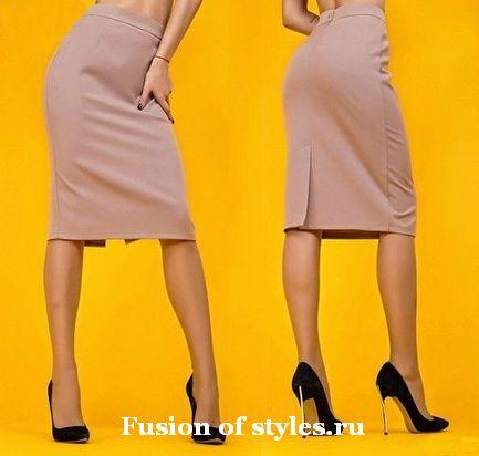Раскладка выкройки юбки карандаш на ткани