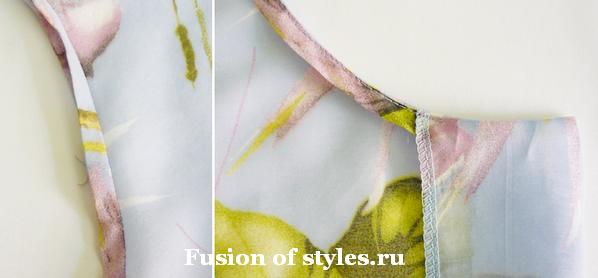 Обработка горловины платья косой бейкой
