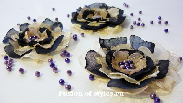 Как сделать декоративные цветы из шифона своими руками