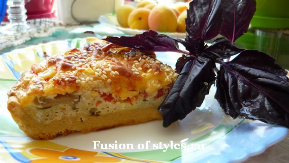 Французский пирог киш с помидорами и сыром