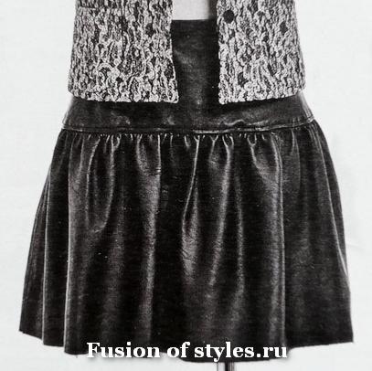 Кожаная юбка на кокетке
