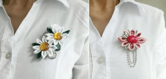 Броши канзаши как модный аксессуар
