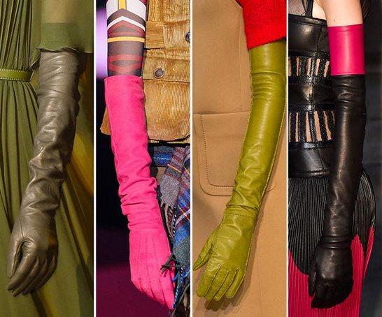 Длинные кожаные перчатки снова в моде