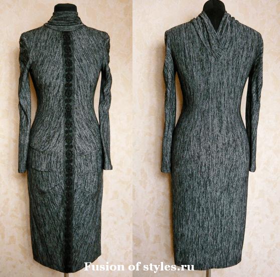 Моделирование трикотажного платья с оригинальным воротником