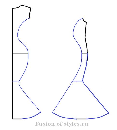 Моделирование корректирующего вечернего платья из трикотажа