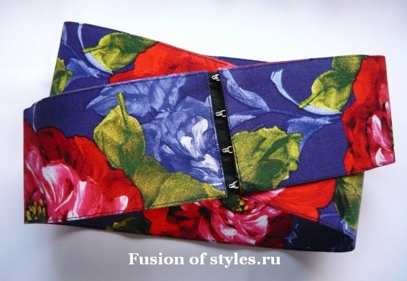 Как сшить широкий пояс из ткани на корсетных крючках